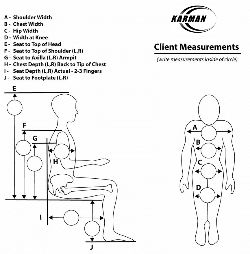 Wheelchair Measurements Chart - Karman | For all manual wheelchairs